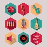 Επίπεδα εικονίδια μουσικής καθορισμένα Στοκ Φωτογραφία