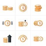 Επίπεδα εικονίδια νομισμάτων εικονιδίων καθορισμένα, διανυσματικό σχέδιο Στοκ Φωτογραφία
