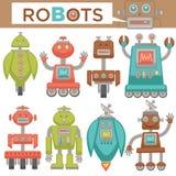 Επίπεδα εικονίδια παιχνιδιών κινούμενων σχεδίων ρομπότ και μετασχηματιστών αναδρομικά καθορισμένα Στοκ φωτογραφίες με δικαίωμα ελεύθερης χρήσης