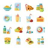 Επίπεδα εικονίδια παιδικών τροφών νηπίων καθορισμένα Στοκ Εικόνα