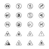 Επίπεδα εικονίδια προειδοποιητικών σημαδιών Στοκ Εικόνα