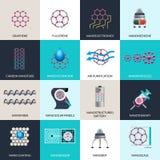 Επίπεδα εικονίδια προϊόντων εφαρμογών νανοτεχνολογίας Στοκ Εικόνα
