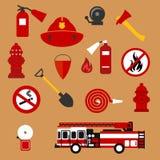 Επίπεδα εικονίδια πυρασφάλειας, πυροσβεστών και προστασίας απεικόνιση αποθεμάτων