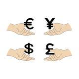 Επίπεδα εικονίδια συμβόλων παγκόσμιου νομίσματος που απομονώνονται στο άσπρο υπόβαθρο Στοκ Φωτογραφίες