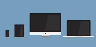 Επίπεδα εικονίδια συσκευών που απομονώνονται στο μπλε υπόβαθρο Στοκ Φωτογραφία