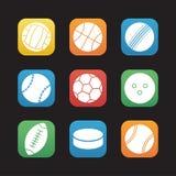 Επίπεδα εικονίδια σχεδίου αθλητικών σφαιρών καθορισμένα Στοκ φωτογραφία με δικαίωμα ελεύθερης χρήσης