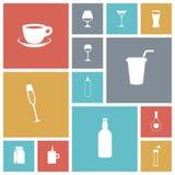 Επίπεδα εικονίδια σχεδίου για τα ποτά Στοκ Εικόνες
