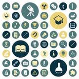 Επίπεδα εικονίδια σχεδίου για την εκπαίδευση, επιστήμη και ιατρικός απεικόνιση αποθεμάτων