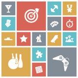 Επίπεδα εικονίδια σχεδίου για τον ελεύθερο χρόνο και τον αθλητισμό Στοκ Φωτογραφίες