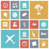 Επίπεδα εικονίδια σχεδίου για το ταξίδι και τη μεταφορά Στοκ εικόνα με δικαίωμα ελεύθερης χρήσης