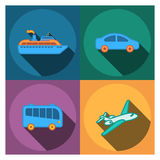 4 επίπεδα εικονίδια ταξιδιωτικής εταιρείας Στοκ εικόνα με δικαίωμα ελεύθερης χρήσης