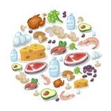 Επίπεδα εικονίδια του κρέατος και των γαλακτοκομικών προϊόντων, της ζωικής και φυτικής απεικόνισης υποβάθρου πηγών λευκώματος ελεύθερη απεικόνιση δικαιώματος