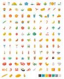 Επίπεδα εικονίδια τροφίμων και ποτών Στοκ εικόνα με δικαίωμα ελεύθερης χρήσης