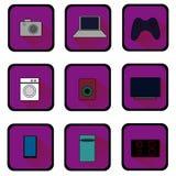 Επίπεδα εικονίδια των εγχώριων συσκευών ράστερ Στοκ εικόνα με δικαίωμα ελεύθερης χρήσης