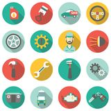 Επίπεδα εικονίδια υπηρεσιών αυτοκινήτων Στοκ εικόνα με δικαίωμα ελεύθερης χρήσης