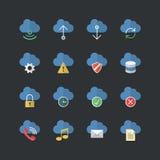 Επίπεδα εικονίδια υπολογισμού σύννεφων ύφους χρώματος καθορισμένα Στοκ εικόνες με δικαίωμα ελεύθερης χρήσης