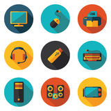 Επίπεδα εικονίδια υπολογιστών Στοκ εικόνα με δικαίωμα ελεύθερης χρήσης