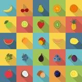 Επίπεδα εικονίδια φρούτων καθορισμένα Στοκ Φωτογραφία