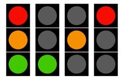Επίπεδα εικονίδια φωτεινού σηματοδότη Λαμπτήρες κυκλοφορίας, σηματοφόρος ελεύθερη απεικόνιση δικαιώματος