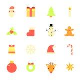 Επίπεδα εικονίδια Χριστουγέννων καθορισμένα Στοκ φωτογραφία με δικαίωμα ελεύθερης χρήσης