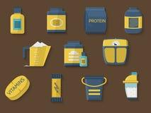 Επίπεδα εικονίδια χρώματος για τη διατροφή αθλητών Στοκ Φωτογραφίες