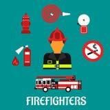 Επίπεδα εικονίδια χρώματος επαγγέλματος πυροσβεστών απεικόνιση αποθεμάτων
