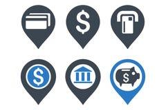 Επίπεδα εικονίδια Glyph δεικτών τραπεζικών χαρτών Στοκ εικόνες με δικαίωμα ελεύθερης χρήσης