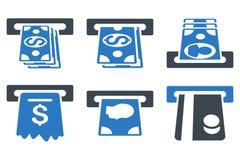 Επίπεδα εικονίδια Glyph σημείων ανάληψης μετρητών του ATM Στοκ Εικόνα