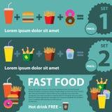 Επίπεδα εμβλήματα γρήγορου φαγητού καθορισμένα Στοκ φωτογραφία με δικαίωμα ελεύθερης χρήσης