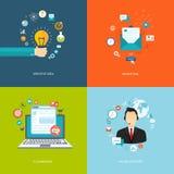 Επίπεδα εμβλήματα Διαδικτύου καθορισμένα Δημιουργική ιδέα, μάρκετινγκ, ηλεκτρονικό εμπόριο, ελεύθερη απεικόνιση δικαιώματος