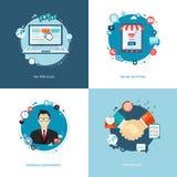 Επίπεδα εμβλήματα Διαδικτύου καθορισμένα Διαχείριση ομάδας, on-line που ψωνίζει, ισοτιμία Στοκ Εικόνες