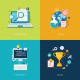 Επίπεδα εμβλήματα καθορισμένα Αναζήτηση Διαδικτύου, ανάλυση, ανάπτυξη, succes Στοκ εικόνα με δικαίωμα ελεύθερης χρήσης