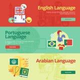 Επίπεδα εμβλήματα σχεδίου για τα αγγλικά, πορτογαλικά, αραβικά Έννοιες εκπαίδευσης ξένων γλωσσών για τα εμβλήματα Ιστού και τα υλ Στοκ εικόνα με δικαίωμα ελεύθερης χρήσης