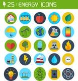 Επίπεδα ενεργειακά διανυσματικά εικονίδια Στοκ Εικόνες