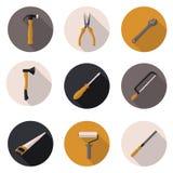 Επίπεδα εργαλεία εικονιδίων Στοκ Εικόνα