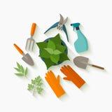 Επίπεδα εργαλεία σχεδίου για την κηπουρική και την προσοχή εγκαταστάσεων Στοκ Εικόνες