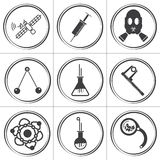 9 επίπεδα διανυσματικά εικονίδια κύκλων επιστήμης Στοκ φωτογραφία με δικαίωμα ελεύθερης χρήσης