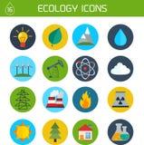 Επίπεδα διανυσματικά εικονίδια οικολογίας και ενέργειας Στοκ Εικόνες