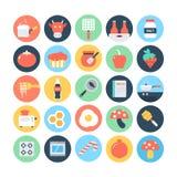 Επίπεδα διανυσματικά εικονίδια 9 τροφίμων απεικόνιση αποθεμάτων