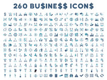 260 επίπεδα διανυσματικά επιχειρησιακά εικονίδια διανυσματική απεικόνιση