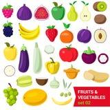 Επίπεδα διανυσματικά τρόφιμα: φρούτα, λαχανικό, ντομάτα δαμάσκηνων αχλαδιών σύκων μούρων Στοκ Εικόνες