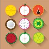 Επίπεδα διανυσματικά φρούτα εικονιδίων Στοκ εικόνα με δικαίωμα ελεύθερης χρήσης