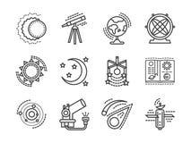 Επίπεδα διαστημικά ερευνητικά εικονίδια γραμμών Στοκ Εικόνα