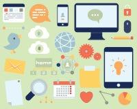 Επίπεδα κοινωνικά μέσα εικονιδίων και σύνολο δικτύων απεικόνιση αποθεμάτων