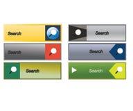 Επίπεδα κουμπιά αναζήτησης Ιστού, εικονίδια Πρότυπα για τον ιστοχώρο Στοκ Εικόνα