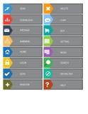 Επίπεδα κουμπιά σχεδίου Ιστού, εικονίδια Πρότυπα για τον ιστοχώρο Στοκ Εικόνες