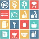 Επίπεδα σύγχρονα τρόφιμα και μαγείρεμα Στοκ Εικόνα