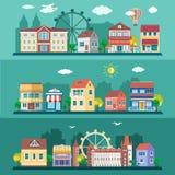 Επίπεδα τοπία πόλεων σχεδίου καθορισμένα επίσης corel σύρετε το διάνυσμα απεικόνισης Στοκ Φωτογραφίες