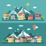 Επίπεδα τοπία πόλεων σχεδίου καθορισμένα επίσης corel σύρετε το διάνυσμα απεικόνισης Στοκ εικόνες με δικαίωμα ελεύθερης χρήσης