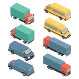 Επίπεδα τρισδιάστατα isometric εικονίδια μεταφορών πόλεων Φορτηγό αυτοκινήτων Στοκ Εικόνες